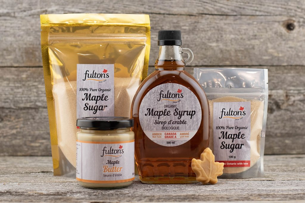 Maple syrup products from Fulton's